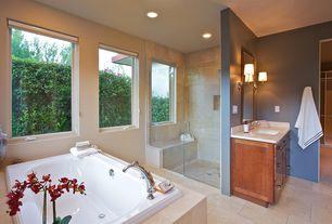 Modern Master Bathroom with Paint, Wall sconce, Master bathroom, Shower, Integral shower bench, partial backsplash, Bathtub