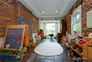 Modern Playroom with Exposed brick, Classic Playtime Deluxe Easel - Walnut, Beadboard, Trey ceiling, Bay window