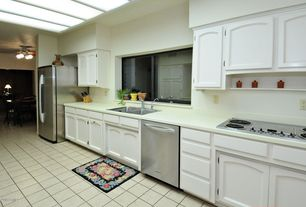 Traditional Kitchen with Skylight, Simple Marble, One-wall, Undermount sink, Flat panel cabinets, Simple marble counters