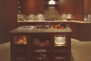 Eclectic Kitchen with full backsplash, Framed Partial Panel, One-wall, Flat panel cabinets, Kitchen island, Standard height