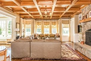 Traditional Great Room with double-hung window, Standard height, Wainscotting, Box ceiling, Pendant light, Hardwood floors