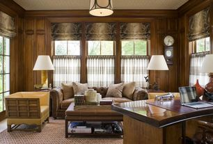 Traditional Home Office with Concrete floors, Crown molding, flush light, French doors