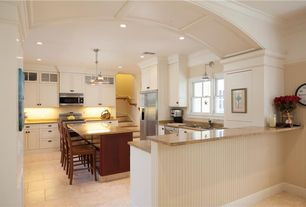Traditional Kitchen with Simple granite counters, Flat panel cabinets, dishwasher, Simple Granite, Wall sconce, can lights