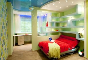 Contemporary Kids Bedroom with Columns, Pendant light, Built-in bookshelf, Hardwood floors