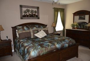 Tropical Master Bedroom with Carpet