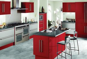Modern Kitchen with double oven range, Stainless kitchen drawers, Standard height, Simple granite counters, Stainless Steel