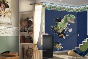 Traditional Kids Bedroom with Carpet, Built-in bookshelf, Mural