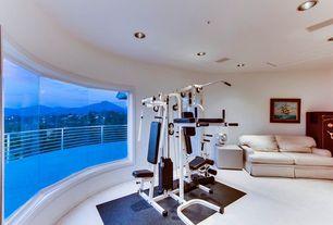 Contemporary Home Gym with Supermat 11gs tread mat, Marlene microfiber loveseat - cream, Carpet