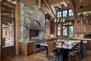 Rustic Kitchen with L-shaped, Complex Marble, Raised panel, Wall Hood, French doors, Pendant light, Exposed beam, Glass panel