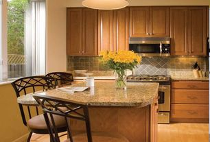 Traditional Kitchen with Slate Tile, Simple Granite, Stone Tile, Pendant light, One-wall, Raised panel, Kitchen island