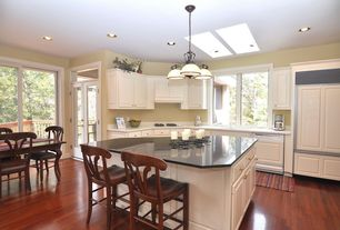 Traditional Kitchen with Pendant light, Kitchen island, Skylight, Glass panel door, Raised panel, Flush, L-shaped
