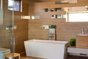 Modern Master Bathroom with Undermount sink, Flat panel cabinets, Bathtub, Freestanding, Master bathroom, can lights