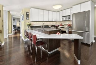 Modern Kitchen with Glass panel, partial backsplash, dishwasher, Limestone counters, U-shaped, Standard height, Paint, Flush