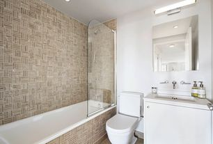 Contemporary Full Bathroom with Corian counters, Undermount sink, Flush, European Cabinets, Handheld showerhead