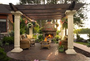 Traditional Patio with Gazebo, Outdoor stone fireplace, Trellis, Outdoor pergola, Casement, Pathway, exterior brick floors