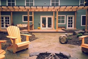 Traditional Patio with Trellis, French doors, exterior stone floors, Fire pit, Pathway