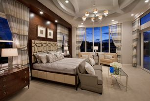 Traditional Master Bedroom with Transom window, Chandelier, High ceiling, Caracole Champagne Upholstered Star Light Bed