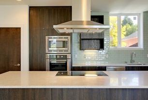 Contemporary Kitchen with Caesarstone pure white, Whirlpool 30 in. Radiant Electric Cooktop, Storka urban hues 3 x 6 aqua