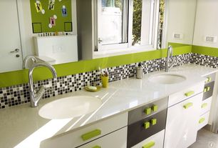 Contemporary Kids Bathroom with Wilsonart Coconut Oil Solid Surface, Flush, Kids bathroom, European Cabinets, Undermount sink