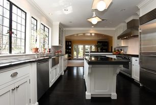 Traditional Kitchen with Framed Partial Panel, Flat panel cabinets, dishwasher, Casement, U-shaped, Crown molding, Wall Hood