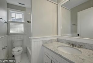 Cottage Full Bathroom with Complex marble counters, Flat panel cabinets, 14 sq. ft. Cape Cod MDF Beadboard Planks