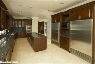 Traditional Kitchen with specialty door, Kitchen island, Glass panel, Simple Granite, Simple granite counters, Raised panel