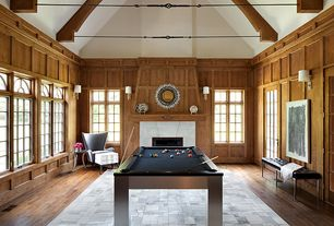 Contemporary Game Room with Exposed beam, stone fireplace, French doors, Casement, High ceiling, Hardwood floors, Wall sconce