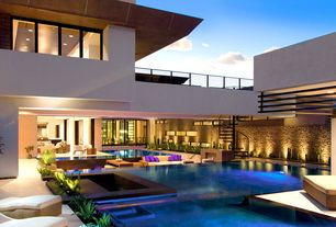 Contemporary Swimming Pool with Geometric exterior, Fence, Indoor/outdoor living, exterior tile floors