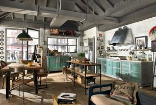 Eclectic Kitchen with electric cooktop, Paint, Kitchen island, Pendant light, Exposed beam, full backsplash, Inset cabinets