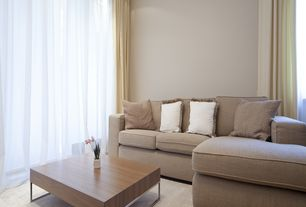 Contemporary Living Room with can lights, specialty door, TrueModern Jackson Sectional Sofa with Right Chaise, Paint