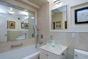 Contemporary Full Bathroom with Elk Lighting Melville Satin Nickel One Light Bath Fixture, tiled wall showerbath, Vessel sink