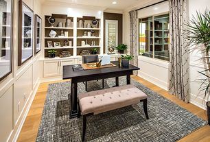 Contemporary Home Office with Upholstered tufted bench, Basketweave area rug, shaker door, can lights, Hardwood floors