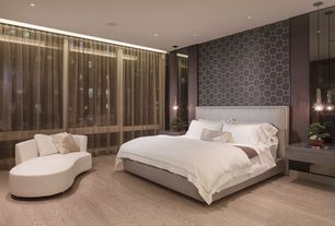 Contemporary Master Bedroom with Hardwood floors, Pendant light, interior wallpaper