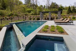 Contemporary Swimming Pool with exterior stone floors, Trellis, Fence, Pathway