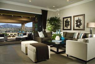 Contemporary Living Room with Carpet, Concrete floors, Safavieh Elizabeth Storage Ottoman, specialty door, Crown molding
