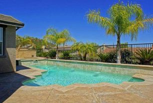 Tropical Swimming Pool with Fence, Raised beds, Pool with hot tub, exterior stone floors