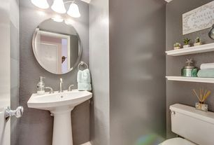 Traditional Powder Room with Pedestal sink, Glomar 3-light polished chrome vanity with alabaster glass bell shades
