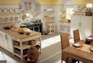 Country Kitchen with Wainscotting, U-shaped, drop-in sink, Paint 1, Flat panel cabinets, Standard height, Custom hood, Flush