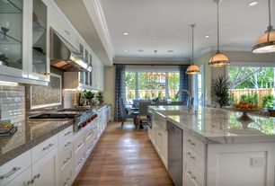Contemporary Kitchen with Paint 1, Kitchen island, Complex marble counters, Standard height, Farmhouse sink, Glass panel