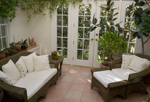 Traditional Porch with exterior terracotta tile floors, French doors, exterior tile floors, Screened porch