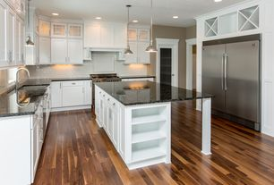 Country Kitchen with Flush, Custom hood, Undermount sink, Kitchen island, Flat panel cabinets, Subway Tile, Pendant light