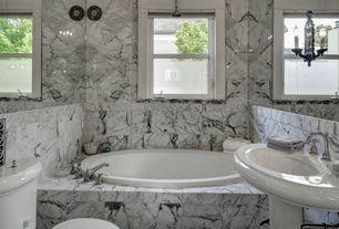 Traditional Full Bathroom with Pedestal sink, Wall Tiles, flush light, Shower, Rain shower, shower bath combo, Casement