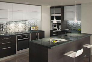 Modern Kitchen with full backsplash, U-shaped, Standard height, Flush, Pendant light, Soapstone counters, Kitchen peninsula