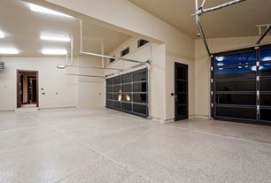 Contemporary Garage with High ceiling, Concrete floors, French doors, specialty door