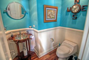 Cottage Full Bathroom with Powder room, Wainscotting, Designer ii collection, Hardwood floors, Nautical inspired sink