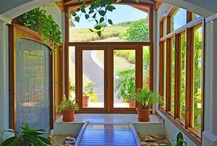Eclectic Entryway with Transom window, French doors, sandstone floors, Standard height, Casement
