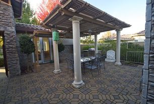 Traditional Patio with Gate, exterior tile floors, Trellis, Fence, Outdoor kitchen