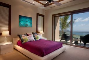Tropical Guest Bedroom with Carpet, Ceiling fan