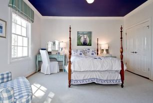 Eclectic Guest Bedroom with Carpet, Art desk, flush light, Crown molding