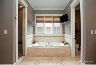 Traditional Master Bathroom with Casement, framed showerdoor, can lights, Shower, Master bathroom, Bathtub, Standard height